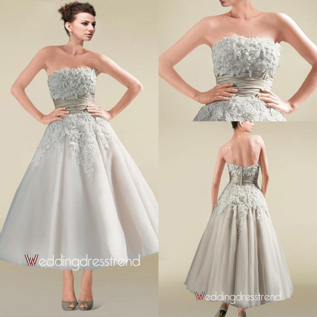 Silver color short ball gown wedding dresses applique sash for Silver tea length wedding dresses