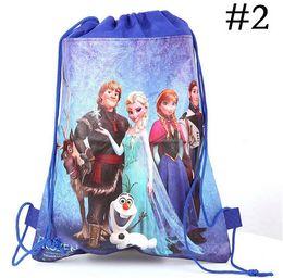 24 pcs lot 2014 new arrival frozen Anna Elsa Olaf Prince Hans non-woven string backpack for kids children's school shoe toy bag