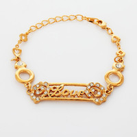 Wholesale 2014 LOVE Letters ID Bracelets For Women High Quality K Real Gold Plated Rhinestone Crystal Bracelets H5124
