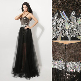 Wholesale 2014 Fall In Stock Cheap Fashion Sexy Luxury A Line Evening Dresses Tulle Crystal Sequins See Through Spaghetti Strap Bridal Gowns AJ011