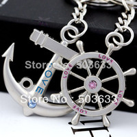 Wholesale 10pairs Anchor Steering Wheel Couple Keychain Creative Fashion Key Chain Ring Key Fob Holder