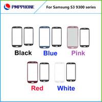 blanco / negro / azul nuevos para la galaxia S3 SIII I9300 Sin táctil digitalizador lente de cristal pantalla exterior frontal / color de rosa Envío gratuito