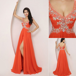 Wholesale Fast Shipping Orange V neck Chiffon Party Dresses Sleeveless Crystal Hot Floor length Sexy Side Split Ruffle Chiffon Formal Gown ssj XU002