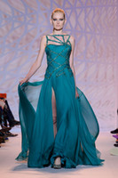 Reference Images Hollow Collar Chiffon 2014 New Zuhair Murad Green Hollow Collar Beading Sequins Split Backless Celebrity Dresses Long Prom Dresses Custom Made Evening Dresses