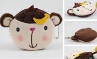 Wallets unisex Cotton Fabric 10PCS Banana Monkey BAG Plush Coin Purses & Wallet Pouch Case ; Pendant Bags Beauty Holder Handbag