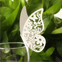 wedding table decoration - 50 Laser Cut Butterfly Sun Flower Wedding Table Decoration Wine Glass Place Cards Seating Numbers for wedding Party Supplies