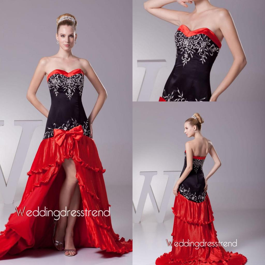 Black and red a line wedding dresses applique stain for Red and black wedding dresses for sale