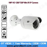 al por mayor power bullet cctv-GT VIEW HD 1280 * 720P Cámara del IP de la bala del CCTV de la visión nocturna al aire libre impermeable de Onvif P2P del megapíxel de 1.0 megapíxeles! Fuente de alimentación libre