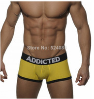 Cotton Blend ad yellow - Hot Brands name new sexy addicted AD sexy men s boxer trunk calzoncillo underpants underwear cuecas boxed boxer slips shorts pull in for man