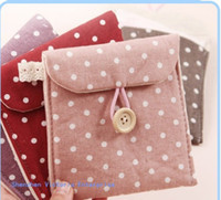 Feminine Hygiene   30PCS Concise Dots Cotton & Flax Lady Women's Sanitary PAD Case BAG Holder Pouch ; Sanitary Napkin Bag Holder Pouch Case