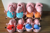 Wholesale High quality Peppa pig family Plush Slippers Peppa pig George pig Mummy pig and Daddy Pig indoor Slipper plush shoes very popular