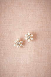 Stud Earrings With Pearl Petals And Crystallized Centers Swarovski Crystals Freshwater Pearls