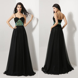 Wholesale 2014 Fall Summer In Stock Cheap Fashion Sexy Black A Line Evening Dresses Chiffon Crystal Spaghetti Strap Floor Length Bridal Gowns AJ012