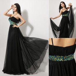 Wholesale 2014 Fall New In Stock Fashion Classic Luxury Black Party Dresses Chiffon Crystal Spaghetti Strap Floor Length Long Bridal Gowns AJ012