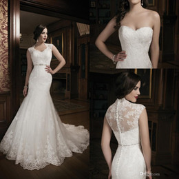 Wholesale 2015 New Collection Mermaid Lace Ivory Wedding Dress Bridal Gown With Lace Sweet heart Court Train Buttons monarch lace collection dresses