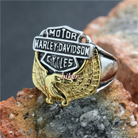 Wholesale Mens L Stainless Steel Cool Golden Silver Biker Eagle Motorcycle Newest Design Ring