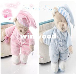 Wholesale One Piece Mothercare Pink My Bedtime Bear Baby Soft Comforter Plush Amimal Puppets Girl Hug Toy Striped Hat Retail