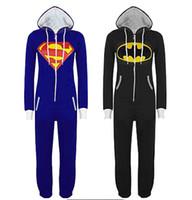 batman full zip hoodie - Men Women UNISEX adult Super Hero Superman Batman Hooded Hoodies Kigurumi Pajamas Playsuit Zip Up Sui Jumpsuit D
