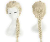 Wholesale Disney Movies Frozen Snow Queen Elsa Weaving Braid Cosplay Wig Frozen Most Popular Cartoon Girl Elsa Hair Wig Free Ship