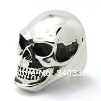 awesome skulls - Size America New Arrival Huge Shining Gold Silver Awesome Skull Heads Ring Mens Punk Biker Stainless Steel Jewelry