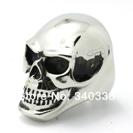 Wholesale Size America New Arrival Huge Shining Gold Silver Awesome Skull Heads Ring Mens Punk Biker Stainless Steel Jewelry
