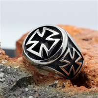 Wholesale Size to size Cross Biker Ring L Stainless Steel Cool Biker Silver Ring Guarantee