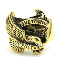 american gold eagle - New Modle Cool Men s LIVE TO RIDE Eagle Gold Biker RingGold Biker Ring Stainless Steel Rings