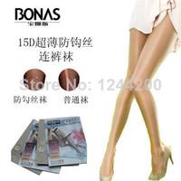 Women Over Knee Solid Promothion! 3-Pair Retail, Women BONAS brand 15D Shiny Real Silk Stocking Tights Shiny Ultra-thin Sexy seamless nylon Pantyhose
