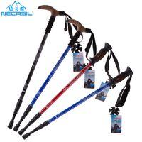 Wholesale Necasil Outdoor hiking pole Mountain climbing ultralight T handle walking stick cane crutch stick walking cane Aluminum Rubber