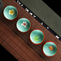 Wholesale Ceramic tea cup Longquan celadon teacup handmade flower cup suitable for four people set