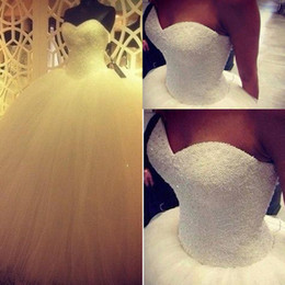 Wholesale Sweetheart Princess Ball Gown Wedding Dresses Pearls Floor length Long Hot Sale Tulle Satin Bridal Wedding Gowns