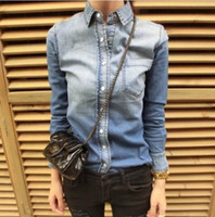 Wholesale 2014 Fashion Women s Gradient Color Slim Denim Shirt Female Long sleeve Shirt Jeans Blouse Tops Outerwear CS4477