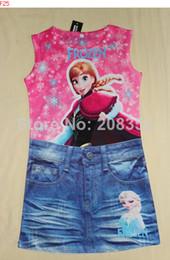 Wholesale Short Sleeve Girls Clothes Frozen Anal Elsa Princess girls T shirt Short Jeans Dress