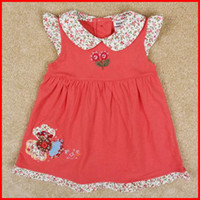 Wholesale 10pcs Korean girls dress red nova new fashion princess cap sleeve summer dresses children clothing embroidery childrens dresses MELEE
