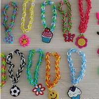 Wholesale Mixed designs Rainbow Loom Bracelet Gum Charms Accessories Adorable Cartoon DIY Rainbow Loom Refill Bands Bracelet Kids Pendant