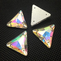 Wholesale 12mm mm mm Sew on Triangle Rhinestone crystal Fancy AB color sewing Crystal for Dress Making