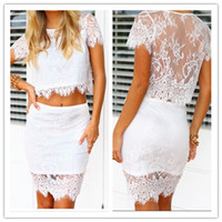 Wholesale White Graceful Sexy piece Lace Patchwork floral crop top and Pencil skirt women Summer Back perspective clothing set