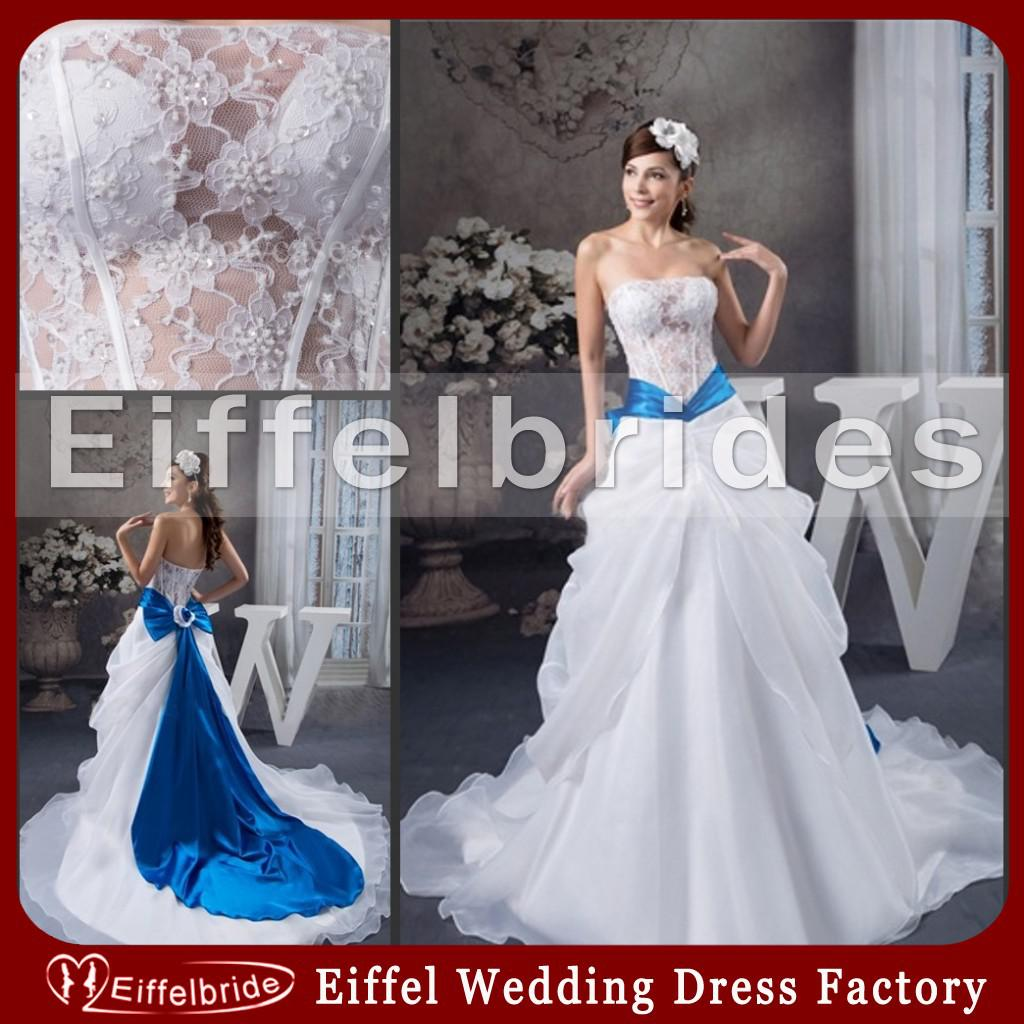 Fashionable royal blue and white wedding dresses 2016 with for Royal blue and white wedding dresses