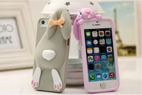 Wholesale High Quality D Cute Milan Bunny Rabbit Rubber Soft Silicon Gel Case Cover For iPhone S G For iPhone4s iPhone4