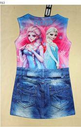 Camisas novas do partido On-line-Sleeve Meninas congelados roupas curtas congelado Princesa Meninas Camiseta Partido Short Jeans Vestido nova marca 5pcs / lot