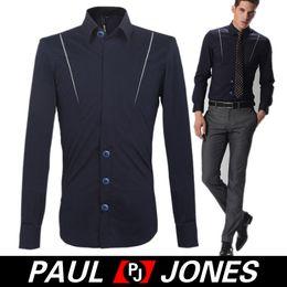 Wholesale 2014 New High Quality PJ Korean Men s Shirts Slim Fit Long Sleeve Cotton Navy Blue Shirts for Gents Size S XL CL3932