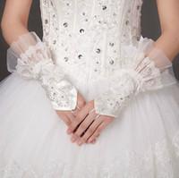 Wholesale 2014 ring finger bridal gloves crystal beaded handmade flowers fingerless wedding gloves lace bride gloves sheer tulle wrist length gloves