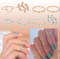 Wholesale Punk Style Band Midi Ring Urban Gold Stack Crystal Plain Cute Above Knuckle Ring Hot JR15091
