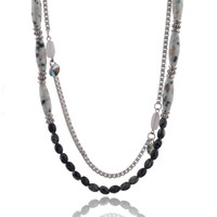 Beaded Necklaces Women's Fashion Fashion Pop Style Women Necklace Platinum Plated Obsidian Necklace Free Shipping Necklaces SNE140177