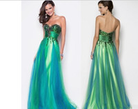 Reference Images Sweetheart Tulle New Sexy Sweetheart Sequin Bodice Green Peacock Blue Tulle Evening Party Dress Formal Floor length Blush pageant dress Prom Dresses