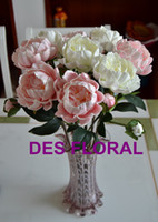 Wholesale Artificial White Pink Peony with Bud for Bride bouquet PU peony high quality than silk flower for home decoration