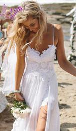 Summer Front Slit Backless Beach Wedding Dresses Spaghetti Straps Court Train Lace Chiffon Elegant Bridal Gowns Custom Made New