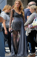 Cheap Elegant Gray Lace Evening Dresses V Neck With Illusion Long Sleeves Back Zipper Beaded Embellishment Chiffon Ruffle Prom Gown