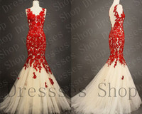 champagne tulle lace prom dress - 2015 Sheer Back V Neck Sleeveless Ruffled Brush Train Red Lace Champagne Tulle Fishtail Princess Gowns Mermaid Prom Wedding Evening Dresses