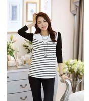 Women women's T-shirts - women s stripe long sleeve t shirt tops for autumn winter female woman plus size shirt fashion black white Splice tees